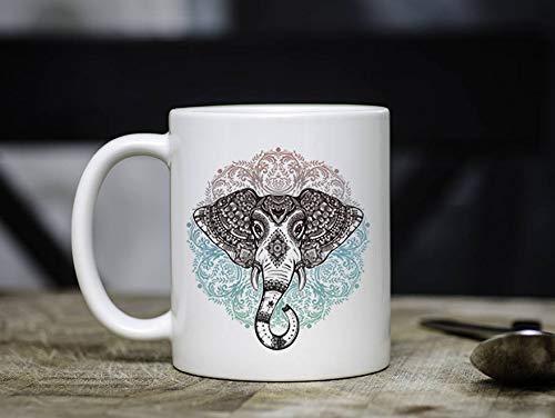 ZonaloDutt Boho-Elefant-Kaffeetasse Boho-Kaffeetasse Stammes-Elefant-Becher-Elefant-Becher-b?hmischer Becher-Sp¨¹lmaschinen-sicheres einzigartiges Geschenk