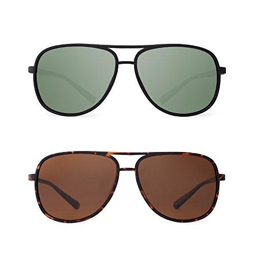 JM Retro Polarisiert Flieger Sonnenbrille Spiegel Leicht Gewichts Brille für Damen Herren 2 Stück(Grün&Braun)
