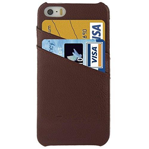 wkae Schutzhülle Fall & Bezug Litchi Textur Echtleder Back Cover Case mit Kartenfächern und Fashion Logo für iPhone 5/5S coffee