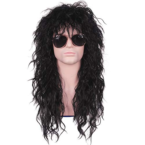 TSNOMORE Lange lockige Perücke Mode Smart Rocker Retro Style für Männer 80er