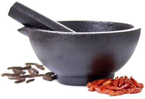 Spicebar Mörser mit Stößel, aus Gusseisen 1,8 kg Schwer und 13 cm Groß, Standfest und Robust, Premium Gewürzmörser Ideal für Kräuter und Gewürze