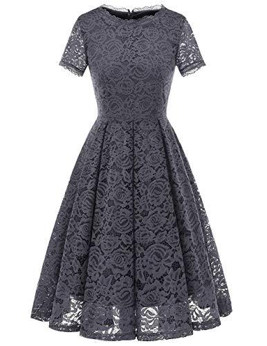 DRESSTELLS Damen Midi Elegant Hochzeit Spitzenkleid Kurzarm Rockabilly Kleid Cocktail Abendkleider Grey 2XL