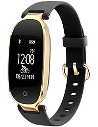 Bluetooth banda inteligente ritmo cardíaco S3 pulsera inteligente Control remoto de la cámara GPS Smartband Fitness pulsera para Android IOS teléfono(Negro)