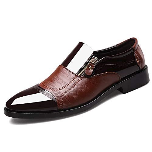 Hilotu Oxford-Schuhe für Herren Farbblock-Slip auf dem Cap Toe Loafer Lässiges bequemes formales Geschäfts-Oxford (Color : Braun, Größe : 48 EU) Formale Slip