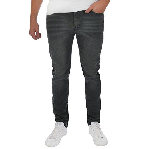 SoulStar Herren Slim Jeanshose, Einfarbig Grau/Grau