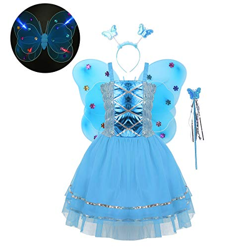 FEESHOW Kinder Mädchen Halloween Fee Cosplay Kostüm Prinzessin Fairy 4-teiliges Set Mesh Tutu Kleid+LED Flügel+Zauberstab+Haarreif Blau OneSize