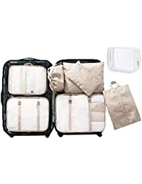 8 Set Packing Cubes - WantGor 6 Travel Organizer Luggage Compression Pouches + 1 Shoes Bag+ 1 Clear Toiletry Bag