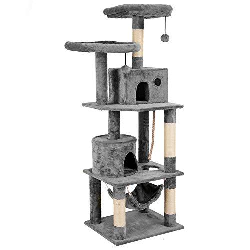 Plemo 4-stöckiger Kratzbaum-Spielturm | Haustier-Möbelstück mit Sisal-ummantelten Kratzbaumpfosten und Hängematte für Katzen Hellgrau