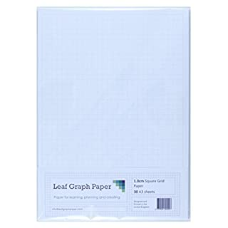 A3 Graph Paper 10mm 1cm Squared - 30 Loose-Leaf Sheets - Grey Grid Lines