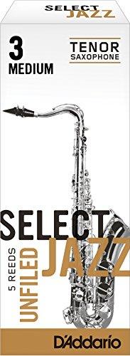 Confezione da 5 ance medie con taglio americano Rico Select Jazz per sassofono tenore, durezza 3