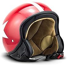 SOXON SP-301-STAR Red Casco Demi-Jet Chopper Cruiser Biker Mofa Helmet Urbano Bobber Vintage Retro Scooter Piloto Moto Motocicleta Urban Vespa, ECE Certificado, Incluyendo Bolsa de Casco, Rojo/Blanco, M (57-58cm)