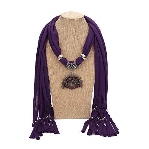 Ome&qiumei collana con ciondolo sciarpa collana da donna in argento con sciarpe decorative nelle quattro stagioni-viola