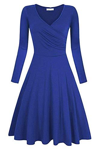 Genhoo Damen Casual Kleid A-Linie Sommerkleider Kurzarm V-Ausschnitt Wickelkleid Vintage Abendkleid Skaterkleid Rockabilly Kleider Knielang (38-40(M), Blau(Lange Ärmel))