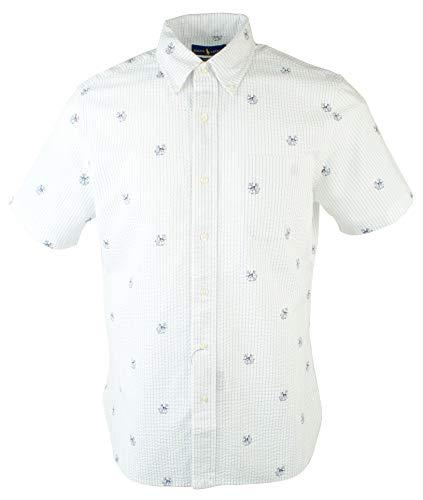 Ralph Lauren Streifen-shirt (POLO RALPH LAUREN Herren Langarmshirt Seersucker Hund und Anker - weiß - 2LT)