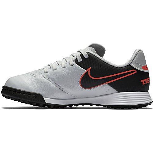 Nike Jr Tiempo Legend Vi Tf, Scarpe da Calcio Unisex Bambini Silber / Schwarz / Orange (Pure Platinum / Schwarz-HYPR Orng)