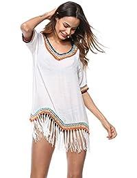 fbb31b7a6c6e Amazon.es: vestidos blanco playa - Camisolas y pareos / Ropa de baño ...