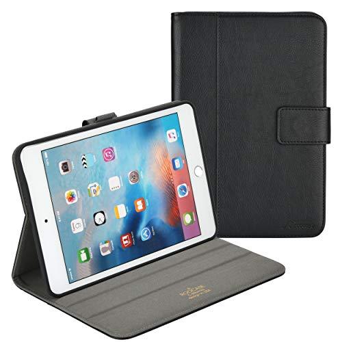 rooCASE iPad Mini 4 Hülle, Premium Leder Folio Case mit Apple Stifthalter, Multi-Winkel Betrachtungs-Ständer, Smart Cover Auto Sleep/Wake Funktion für Apple iPad Mini 4 (2015), Schwarz