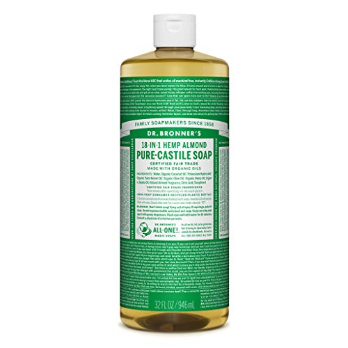 Dr. Bronner Magic Soaps Pure-Kastilien Seife, 18-in-1 Hemp Almond, 32-Unzen-Flaschen (2er Pack) (Teebaum Kastilien Seife)