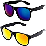 #2: Unisex Mercury Mirror Wayfarers Combo Sunglasses for Girls shades C2 (Yellow|Blue)