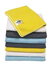 SOFTSPUN Microfiber Cleaning Cloths, 12 pcs 30x40cms 280GSM Multi-Color. Highly Absorbent, Lint and Streak Free, Multi - Purpose Wash Cloth for Kitchen, Car, Window, Stainless Steel, Silverware.