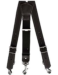 3cm Breit Echt Leder Stark Hosenträger mit Karabinerhaken 100 bis 160cm und Schwarz oder D. Braun Wählbar