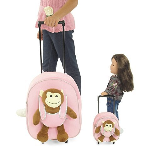 18 Inch Doll Rolling Luggage | Child & Doll Matching Backpacks w/Trolleys | Fits American Girl Doll by Emily Rose Doll Clothes