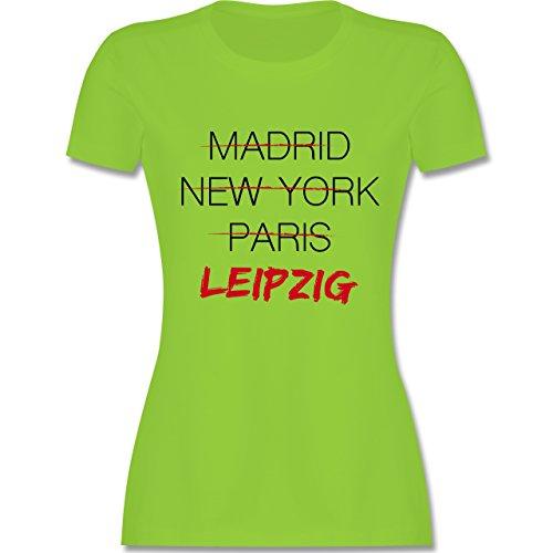 Shirtracer Städte - Weltstadt Leipzig - Damen T-Shirt Rundhals Hellgrün