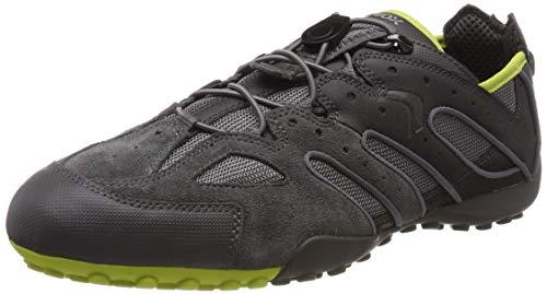 Geox Herren Uomo Snake J Sneaker, Grau (Dk Grey/Lime C1267), 43 EU - Patent Leder Slip