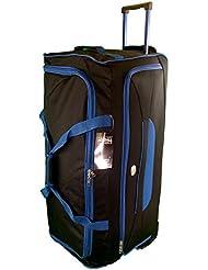 Très grande taille Sac de voyage 105L de Voyage valises souples. Noir avec garniture bleu. Bagagerie