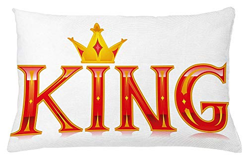 King Throw Pillow Cushion Cover, Royal King Quote in Capital Lettering with Crown and Diamond Shapes on White, Decorative Square Accent Pillow Case, 18 X 18 inches, Vermilion and Yellow