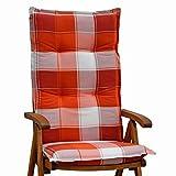 6 Hochlehner Auflagen 120x50x8 cm in orange weiß kariert SUN GARDEN Villach 10236-440 ohne Sessel