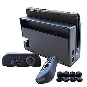 Hikfly 3in1 Ultradünne PC Hülle (Transparent Schwarz) für Nintendo Switch Console & Silikon Hüllen (Blau) für Joy-Con Controller mit 8er Thumb Grips Super Slim Hülle Geeignet für angedockten TV-Modus