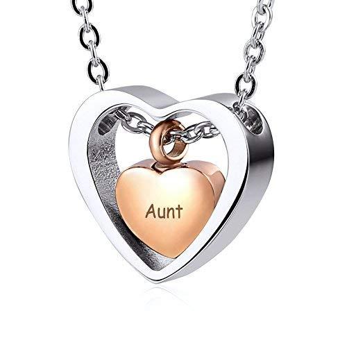 Anyeda Oro Rosa Colgante Plata Alerta Medica Trampa en Forma de Corazón Amor Grabada Tia Collar Cruz de la Victoria