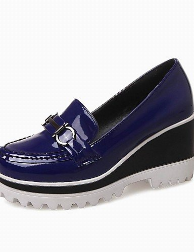 ZQ gyht Damenschuhe-Halbschuhe-Outddor / B¨¹ro / Kleid-Kunstleder-Keilabsatz-Wedges / Abs?tze / Plateau / Rundeschuh-Schwarz / Wei? / Gold / royal blue-us7.5 / eu38 / uk5.5 / cn38