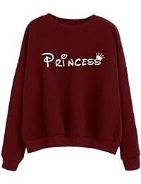 Sudaderas Mujer Tumblr Adolescentes Chica Blusa De Manga Larga ImpresióN De Letra Princess Camiseta Otoño e