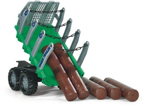 Rolly Toys rollyTimber Trailer (für Kinder von 3 - 10 Jahre, Zweiachsanhänger, Kippanhänger, mit Holzstämmen) 122158