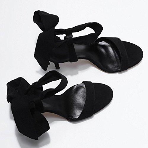 COOLCEPT Femme Mode Lacets Sandales Talons Aiguille Slingback Sandales Chaussures Bout Ouvert Noir