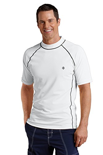 Coolibar Herren Rüschen Schwimmshirt UV-Schutz 50+ T-Shirt, Weiß, XXL (Schwimmen Coolibar Shirt)