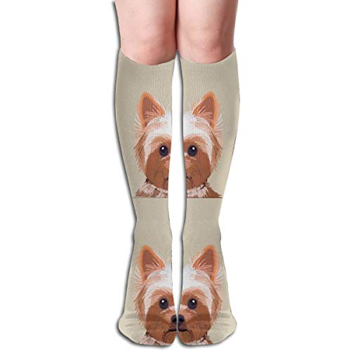 Women's Fancy Design Stocking Yorkie Dog Pillow With Cut Lines - Dog Pillow Panel, Dog Pillow, Pillow Cut And Sew - Multi Colorful Patterned 50CM(19.6Inchs) Knee High Socks