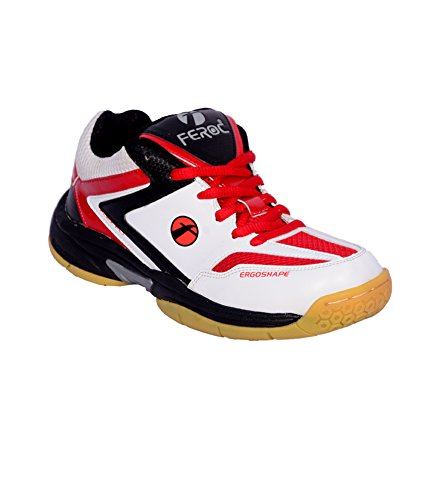 Feroc Red & White Badminton Sports Shoes (8, Red & White)