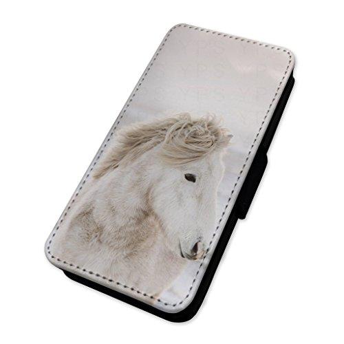 Adorabile bianco neve Horse–Flip cover in pelle di carta Apple Iphone X