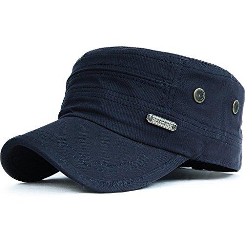 95754829b0df2 KUYOU Unisex Army Military Flat cap Vintage Cotton Cappello da Baseball  001Blau Taglia Unica