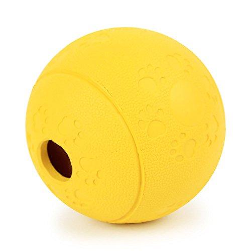 AGIA Tex Hunde-Spielzeug Labyrinth-Ball für Mentaltraining & Suchspiel | Leckerli-Ball, Hundeball | Snackball für Hunde aus robusten Naturkautschuk 8 cm Set 1 x Gelb