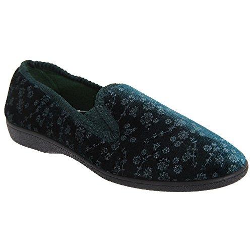 Pantofole fantasia floreale - Donna Verde
