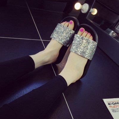 FLYRCX Onorevoli estate antiscivolo moda paillettes fondo morbido pantofole, b