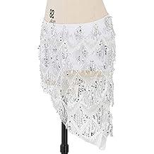 Acqrobe India danza del vientre Hip Scraf Bufandas Señoras de lentejuelas borlas Bailando Falda con ropa