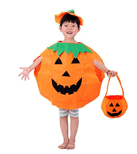 (Rosfajiama Dress Up Costumes Cute Fairytale Pumpkin Witch Costume Bats Fancy Dress with Hat for Girls and Toddler Kids)
