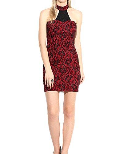 Romacci Damen Spitze Sleeveless Bodycon Kleid Halter hoher Ansatz Backless  Mini Bleistift Kleid Cocktailparty Kleid Rot Rot