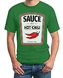 Fashing & Karneval Lebensmittel Saucen Kostüm Herren T-Shirt HOT Chili Grün Medium