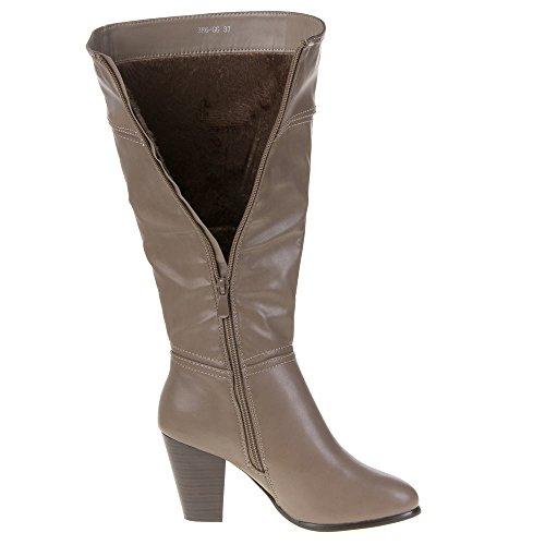 Damen Schuhe, 386-GG, STIEFELETTEN Grau Braun